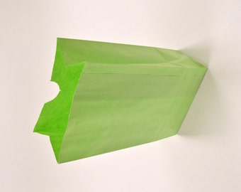 Set of 25 - Solid Lime Flat Bottom Paper Merchandise or Lunch Bags - 4.25 x 2.375 x 8.18 Inches - Gifts, Packaging, Retail