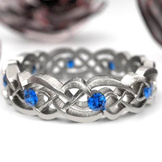 Sapphire Eternity Ring, Celtic Infinity Band, Sterling Silver Wedding Band, Budget Wedding Ring, Woven Wedding Ring, Custom Size CR-1044
