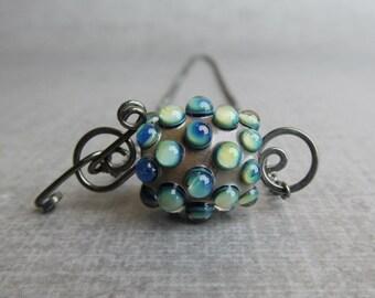 Lampwork Necklace Oxidized Silver, Blue Necklace, Green Necklace, Artisan Necklace, Convertible Necklace, Sterling Silver Oxidized Necklace