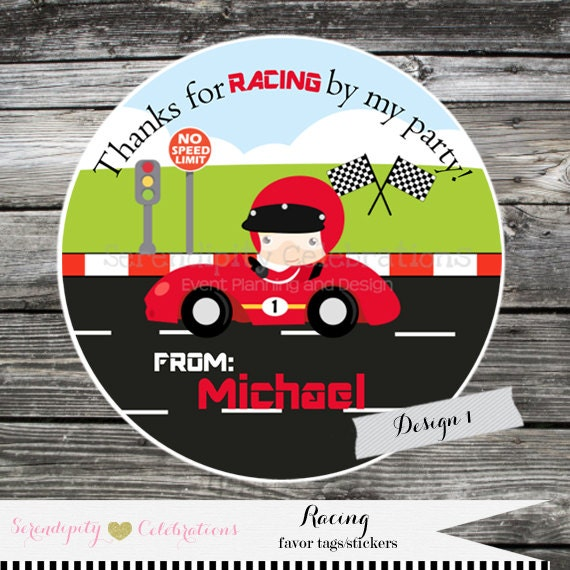 Set of 12 personalized favor tags racing thank you tag gift tag baby shower birthday sticker race car speed racer vroom vroom from
