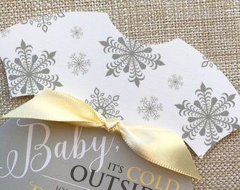 Baby Its Cold Outside Invitation, Onesie Invitation, Snowflake Baby Shower invitation, Yellow Baby Shower Invitation, Neutral Shower Invite