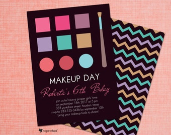 Makeup Day Birthday Party Invitation - makeup, colorful, girly, celebration, creative, adorable, cute, fun, playful, template, digital proof