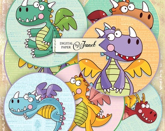 Little Dinosaur - 2.5 inch circles - set of 12 - digital collage sheet - pocket mirrors, tags, scrapbooking, cupcake toppers