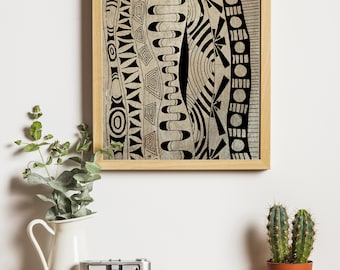 Vintage Line Waves Patterns Digital Download