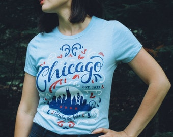 City by the Lake Chicago Flourish Blue Ladies Shirt. Vintage Style Soft Screenprinted Midwest Women's Tee