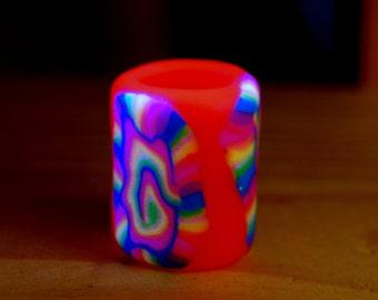 Pink Rainbow UV dreadbead Polymer Clay Blacklight 11 mm hole