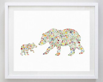 Mamma and Baby Bear Floral Watercolor Print
