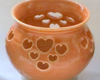 Orange or Tangerine Votive Candle Holder or Luminary with Heart Cut-outs - Wheel Thrown Pottery