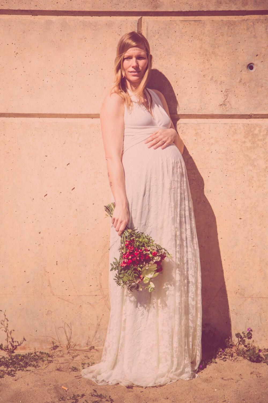 Novia en apuros Vestido novia premama falda de encaje crudo