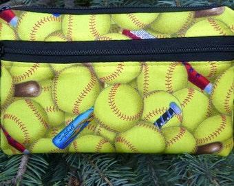 Softball mini wallet, purse organizer, wristlet, Sweet Pea