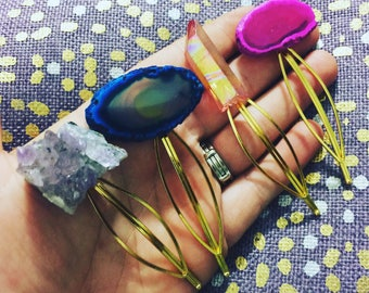 Gemstone Hair Clips // Assorted Agate, Crystals, Amethyst and more // Boho hair
