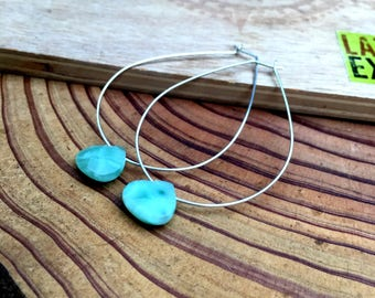 Large Sterling Silver Elongated Hoops with Faceted Aventurine Teardrops