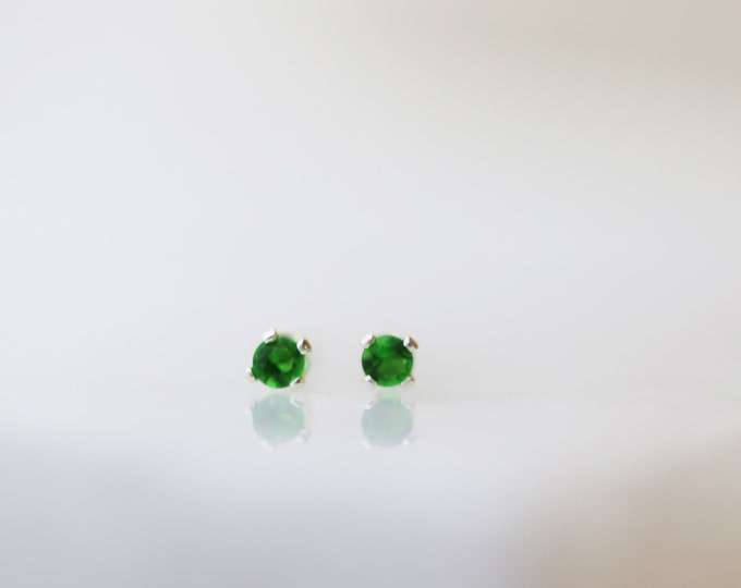 Mini Stud Earrings with Emerald CZ // Perfect Gift for Her // everyday studs earrings // stud earrings / May's birthstone: emerald