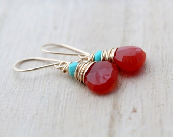 Rust Turquoise Gold Earrings, Chalcedony & Sleeping Beauty Turquoise in 14k Gold Filled - Santa Fe