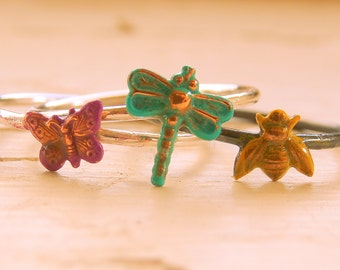 Summer Insects Stacking Rings (stack of 3) - Butterfly Dragonfly Bee - Blue Purple Yellow