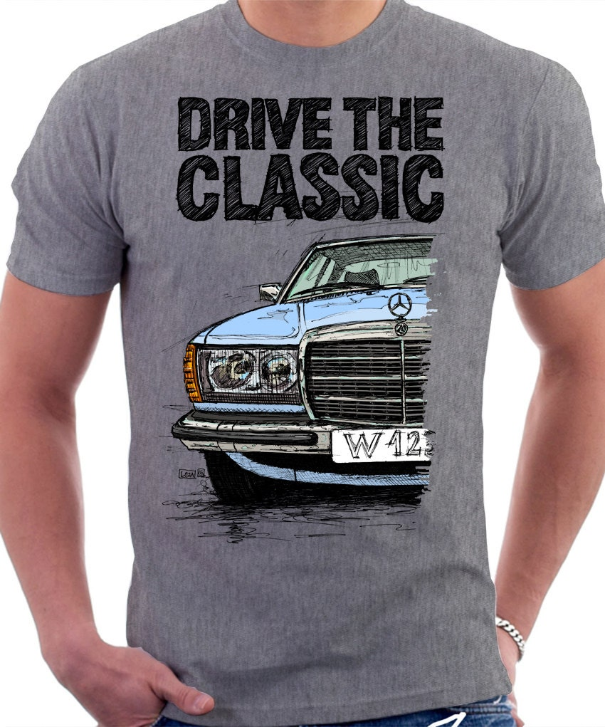 clasic retro mercedes w123 t shirt heather grey original hand. Black Bedroom Furniture Sets. Home Design Ideas