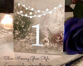 GOLD, SILVER, Rose Gold  Mercury Glass Style • Table Numbers • Luminaries • String of Lights • Self-standing