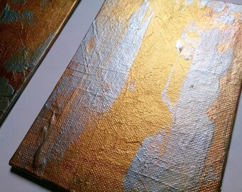 Small Abstract Acrylic Painting Gold Gift Set of Two on Canvas Board 5 X 7 Set of Wall Art Original Paintings