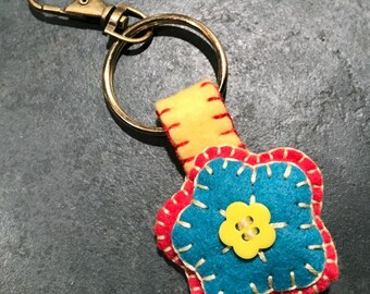 Wool Felt Flower Key Ring Purse Charm Backpack Charm