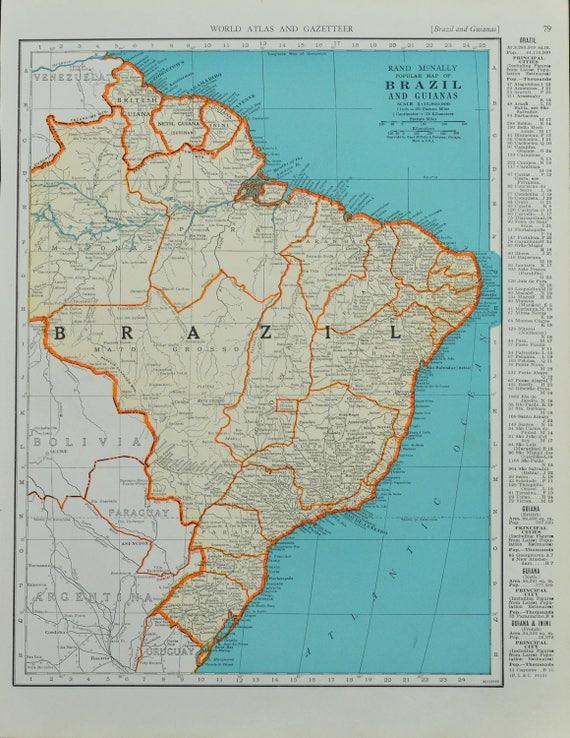 1942 brazil map vintage map mid century map antique