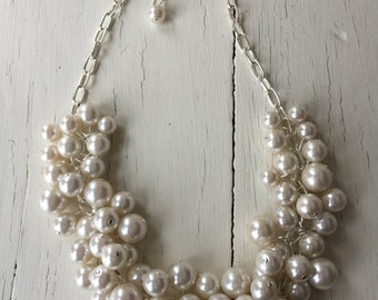 Ivory pearl necklace,  statement pearl necklace, ivory pearls, bridesmaid jewelry, chunky pearl necklace, cluster pearl