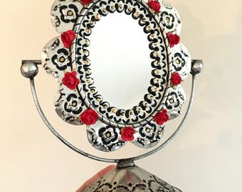 Mexican hammered tin metal mirror on stand / mexican craft  // OOAK decor / Mexican Love wedding