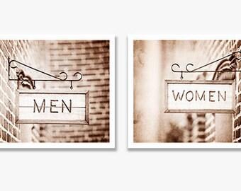 Brown Bathroom Photography Set, Women Men Sign Photography, Sepia Bathroom Photos, Bath Wall Art, Gray Bathroom Decor, Brown Bathroom Art