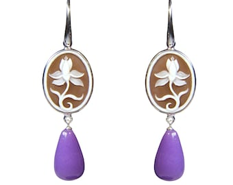 925 silver earrings with stones and hand-engraved cameo