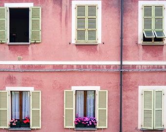 Floral Italian Windows. Italy. Windows. Colorful. Pink. Flowers.
