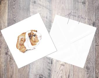 Guinea Pig Greeting Card / Blank Inside