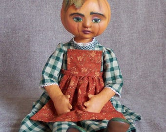 Miss Cucurbita Pepo, a pumpkin doll by Jan Conwell