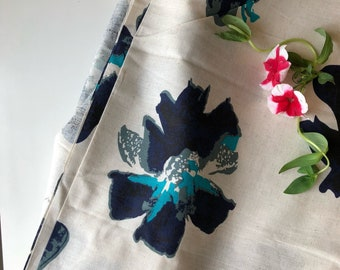 Blue Floral Fabric, Indian Cotton Print, Cotton Linen Blend, Fabric by the yard, Fashion Fabric, Hawaii Floral Print, Sewing and Quilting
