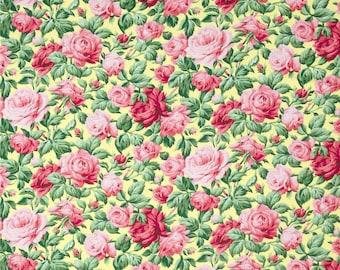 78065 - 1/2 yard of  Verna Mosquera Snapshot rose garden in butter