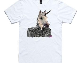 Unicorn T-Shirt by RockPaperHeart in white wild animal sketch art