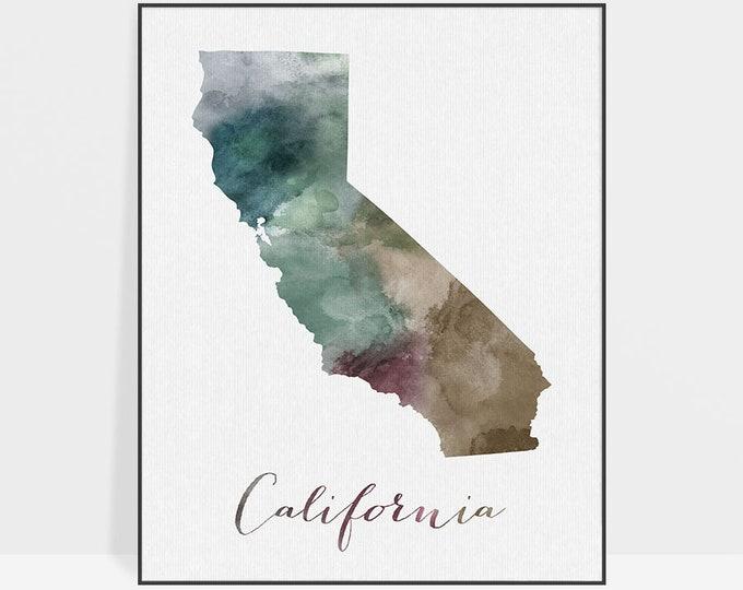 California state map, California map print, watercolor map, Wall art, California map poster, office decor, travel gift, ArtPrintsVicky