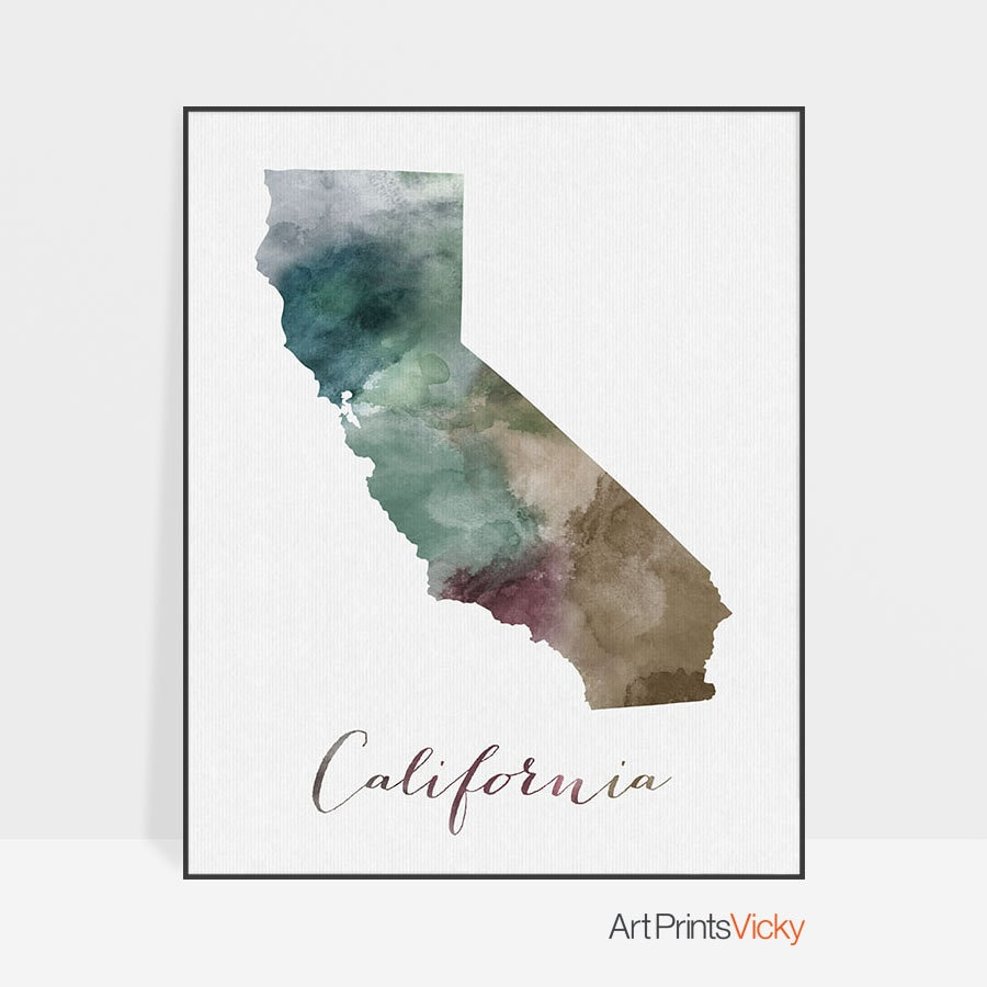 California state map California map print watercolor map Wall art