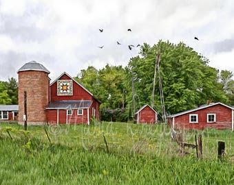 Barn Art. Fine Art Photography. Midwestern. Countryside. Quilt Barn. Red Barn. Landscape. Farmhouse Decor. Americana. Home or Office Decor.