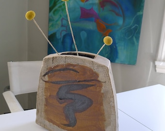Vintage Slab Ikebana Vase, Weedpot, Mid Century Modern Ceramics