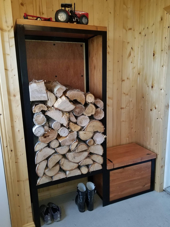 Woodstove Wood Rack With Seat Support Bois De Chauffage # Banc En Bois Brule