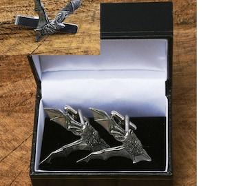 Bat LE Cufflinks & Tie Slide Clip Mens Wildlife Gift Set UK Pewter