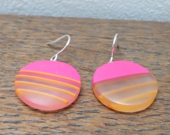 resin earrings - cerise mini rounds with orange stripes