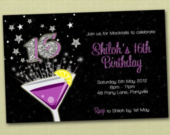 Personalised  Bling Birthday Invitations 16th 18th 21st - You Print
