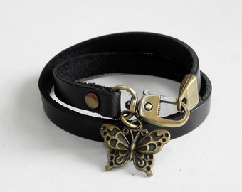 Black Leather Bracelet Charm Bracelet with Metal Bronze Tone Butterfly Charm