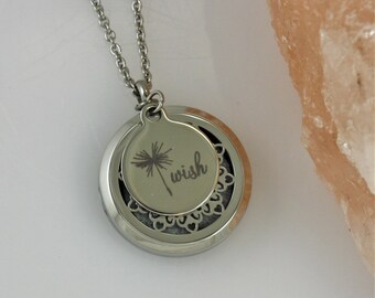 Dandelion Wish Diffuser Necklace - Aromatherapy Mandala Essential Oil Diffusing Locket Mom Mothers Day Gifts for Her Birthday Anniversary