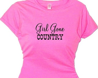 Girl Gone Country South,Sweet Southern Girl T Shirt,Country Sayings,Tee Shirt with Country Slogans,Girls Country Clothing,