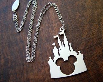 Disney castle Mickey head pendant  in white bronze or brass , handmade by hand sawing ,disney jewelry