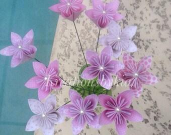 Pinkness- Paper Flower with Stem // Origami Kusudama Paper Flower Bouquet/ Flower Arrangement/ Centerpiece/ Wedding/ Bridal Bouquet