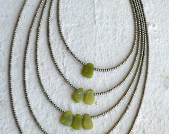 Jade Necklace, 5 strand jade necklace, jade and metal necklace, long jade necklace, jade multi strand necklace,jade and silver necklace,jade