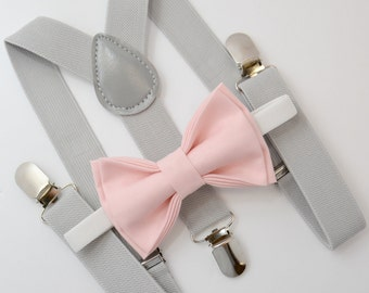 Bow Tie & Suspenders SET / Blush Pink Bow Tie / Light Gray Suspenders / Kids Mens Baby Wedding Page Boy Set 6 months - to Adult Set