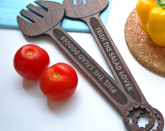 Salad Dodgers Serving Spanners - Engraved wooden salad spoons - personalised foodie gift - 5 year anniversary gift - custom serving spoons